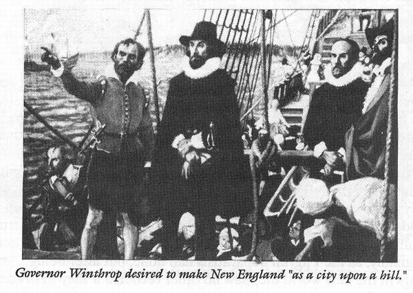 John Winthrop aboard the Arbella bound for the New World.